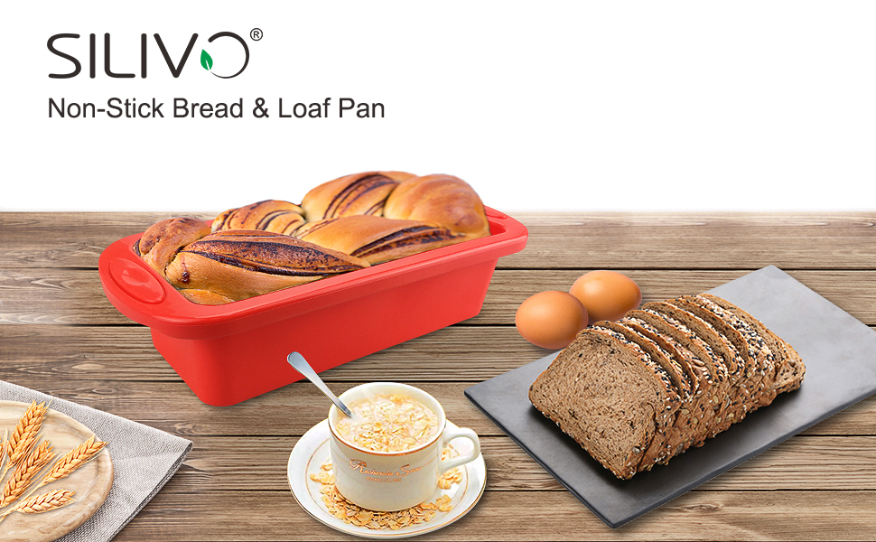 SILIVO silicone bread loaf pan with non stick for homemade baking cake and bread