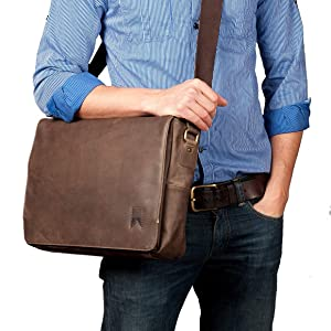 b3cd9f674e14 Amazon.com  Navali Mainstay Leather Laptop Messenger Bag - Crazy ...