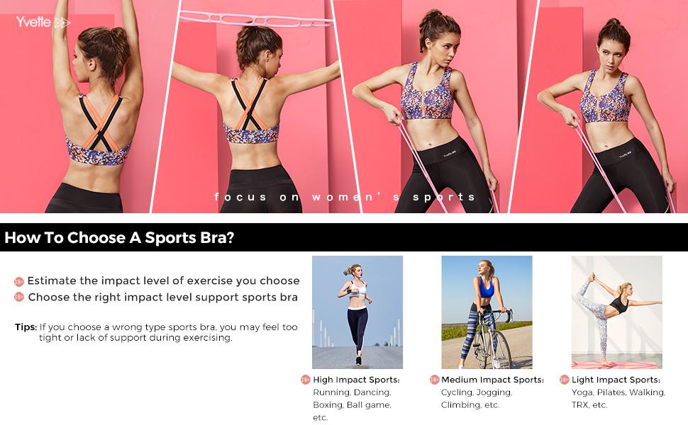 7521e63ca024c Yvette Zipper Front Closure Sports Bra High Impact Floral Print ...