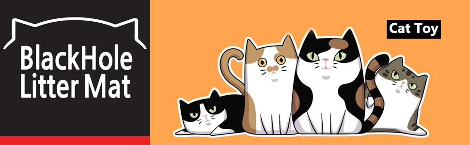 BlackHole Litter Mat- Cat toy characters