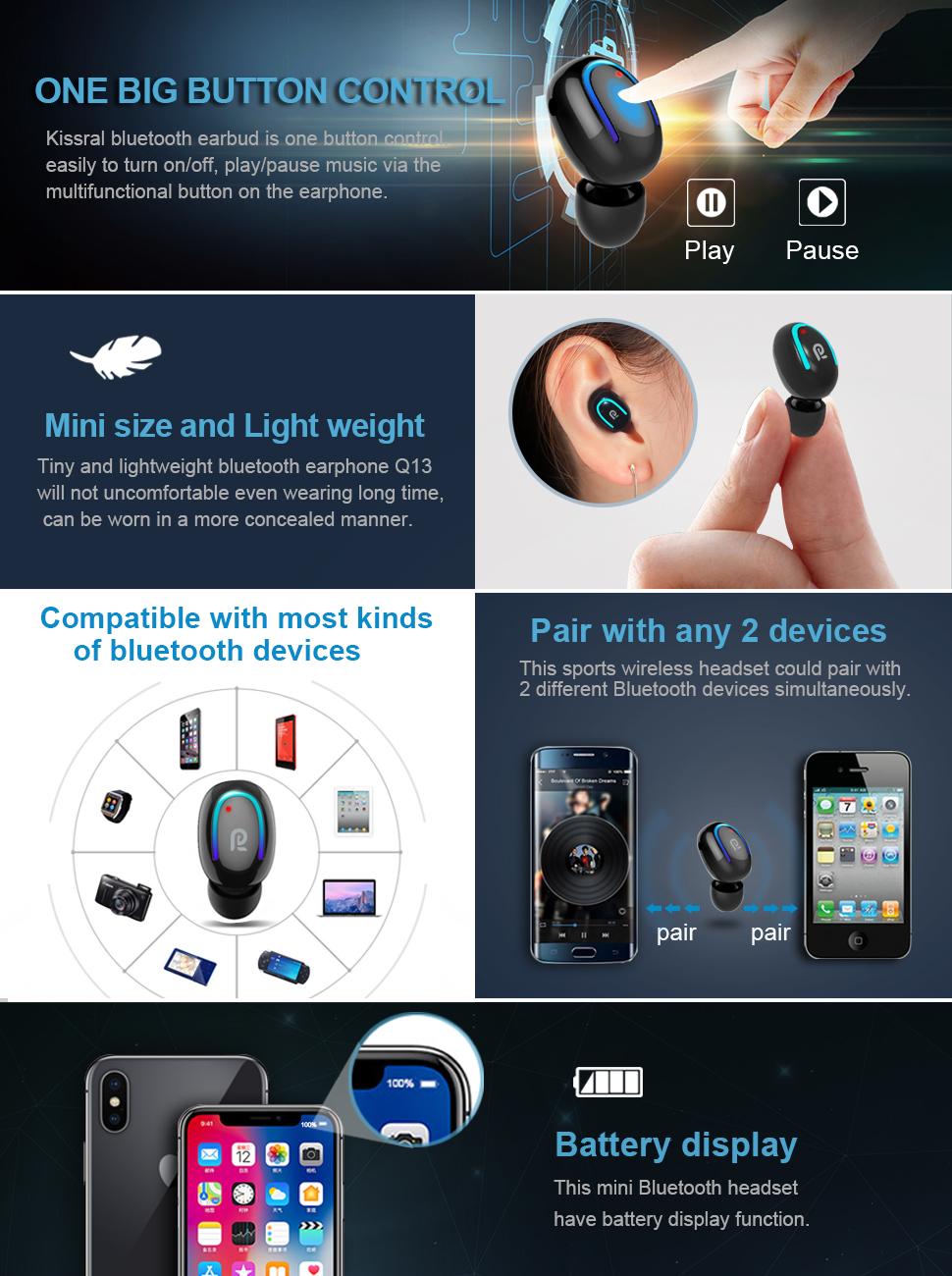 Bluetooth Kopfh/örer,In-Ear Kabellose Kopfh/örer,Bluetooth Headset,Sport-3D-Stereo-Kopfh/örer,mit 24H Ladek/ästchen und Integriertem Mikrofon Auto-Pairing f/ür Samsung//Huawei//iPhone//Airpod//Android