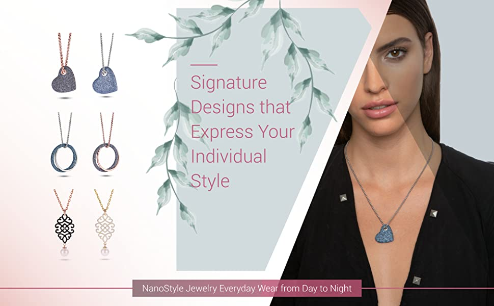 Selection of elegant stardust stainless steel necklaces, women's heart pendants shown also on model