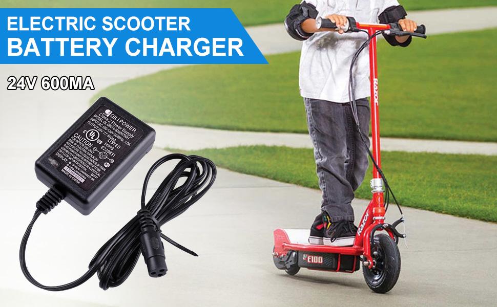 QILI Razor Electric Scooter Battery Charger for E300 E100 E175 E200 E225 UL 24V
