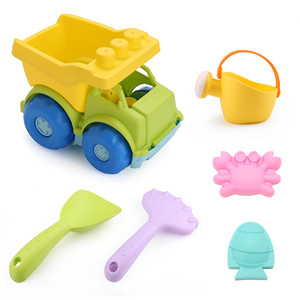 7 Piece Beach Set Bucket with Sand Sifter Cover LotFancy Beach Toys Set Rake Watering Can and Sifter Shovel Sand Snow Toys for Toddlers Star Mold BPA Free Shovel
