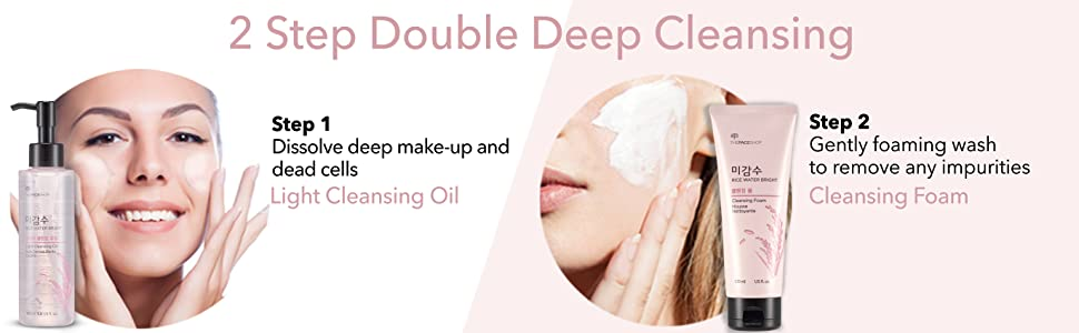 the face shop rice water double deep cleansing light oil foam
