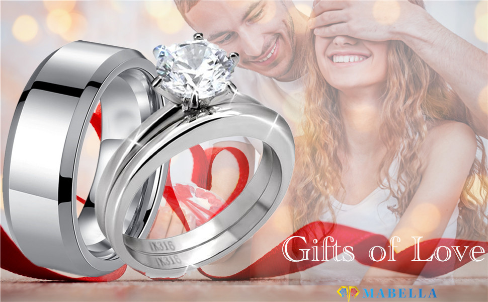 Hers Stainless Steel Men's Band Women Cubic Zirconia Round Cut Wedding Engagement Ring Set