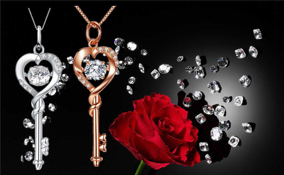 c24620a0b Dancing CZ Key to Heart Sterling Silver 18K White Gold Plated Key Pendant  Necklace,Women