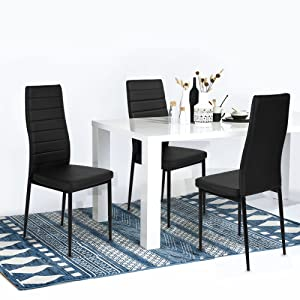 4 dining room chairs kitchen ikea table aingoo kitchen chairs set of dining chair black with steel frame high back pu leather dining table set amazoncom