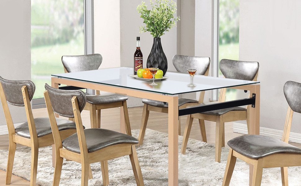 Modern Glass Dining Table Rectangular Dining Room Kitchen Table 48IN 4/6  Person Reception Room