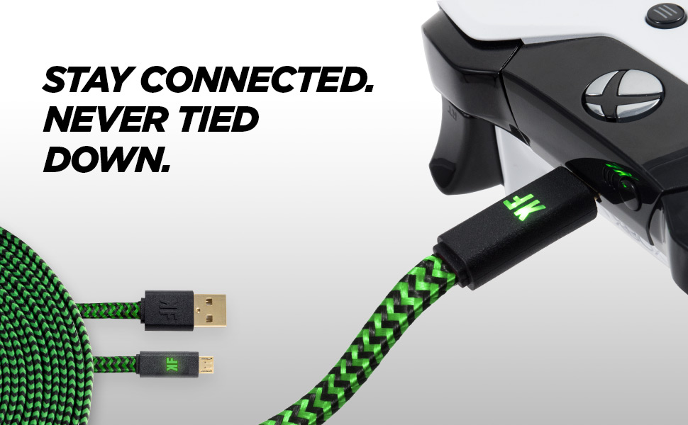 Usb Cable For Xbox One Controller To Pc: Amazon.com: KontolFreek 12 feet Performance Gaming Cable (Green) for rh:amazon.com,Design