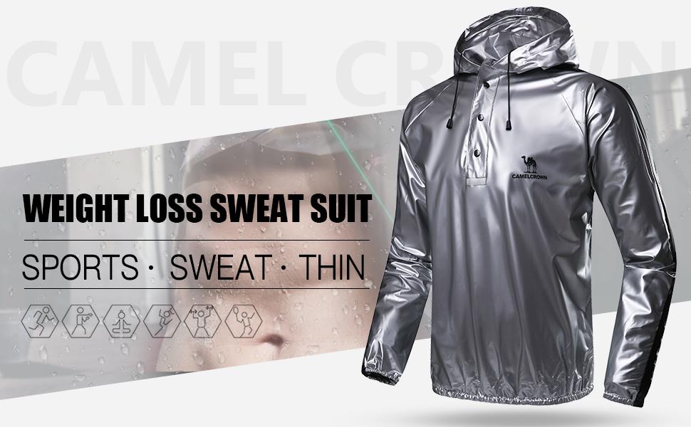 CAMEL CROWN Men's Sweat Suit Fitness Sauna Suit Weight Loss Jacket Slimming Shirts Fat Burner Pants Waist Trainer Track Vest