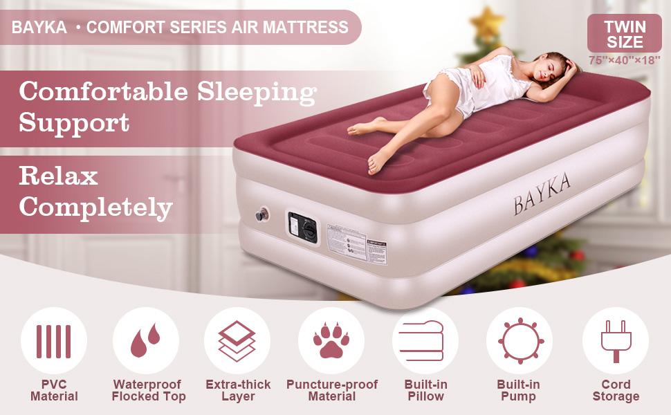 Amazon.com: Colchón de aire cómodo Queen/individual, elevado ...