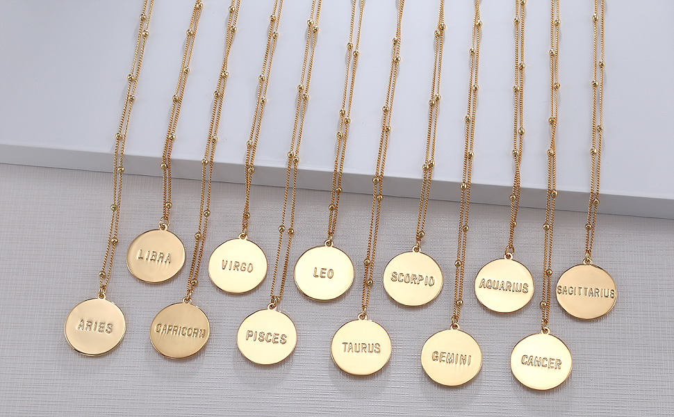 Cancer Pink Box Ms Zodiac Tag Necklace Gold Multiple Colors Available