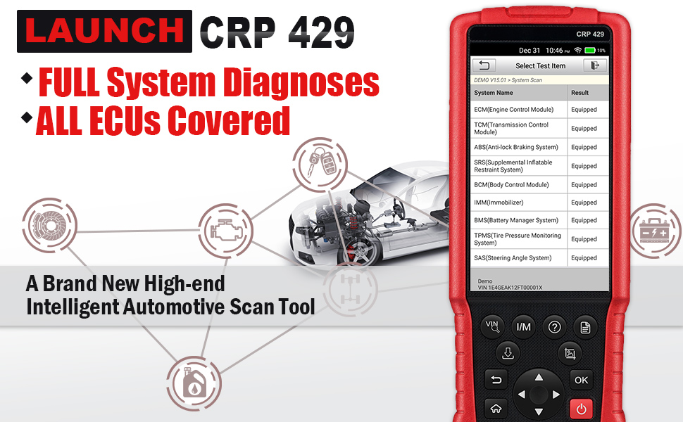 Launch CRP429 OBD2 Scanner Scan Tool Full System Code Reader 8 Reset  Functions of ABS Brake Bleed, Oil Reset, EPB, BMS, SAS, DPF, Injector  Coding and