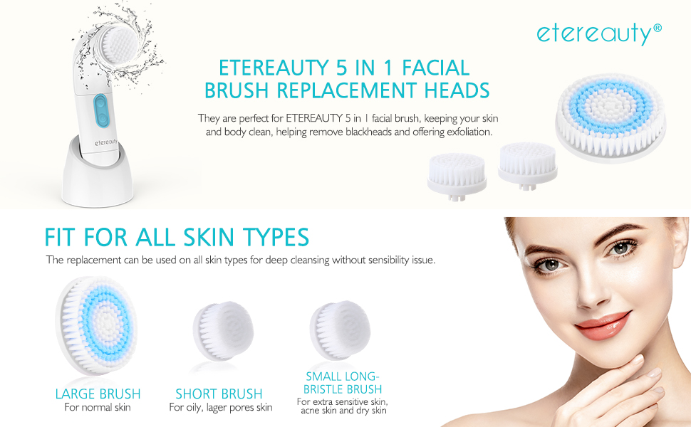 412dad2748b1 Amazon.com: 3Pcs Body Facial Cleansing Brush Head Replacement for ...