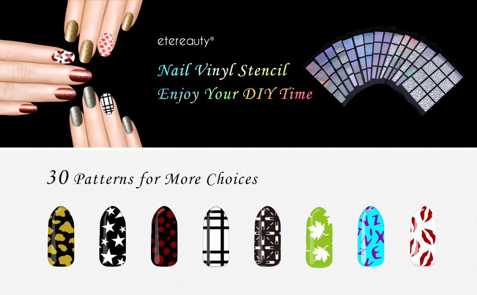 Amazon Nail Stencils Etereauty 180 Pieces Nail Vinyls Stencil