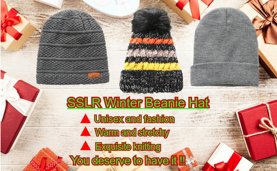 398e666ac2c93 SSLR Adult Solid Thermal Knit Winter Fleece Lined Beanie Hat (One ...