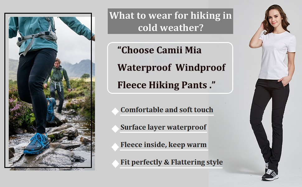 Camii Mia Womens Windproof Waterproof Outdoor Fleece Hiking Winter Pants