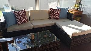 amazon com patioroma 5pc outdoor pe wicker rattan sectional