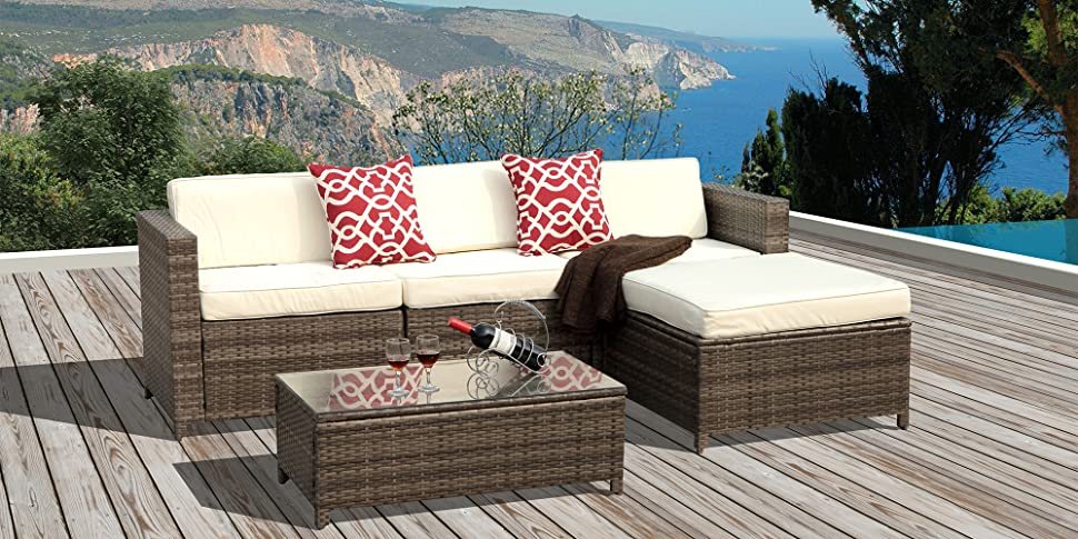 amazon com patioroma 5pc outdoor pe wicker rattan sectional