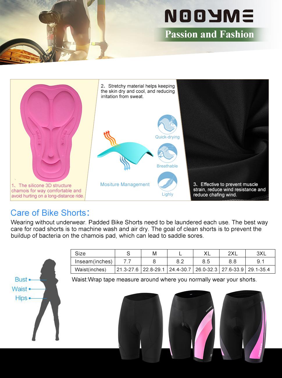 39ccff93c Amazon.com  NOOYME Women s Bike shorts - 3D Padded Cycling Short ...