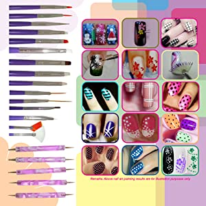 Amazon nail art brushes dotting pens marbling detailing here are all you need to create different nail art paintings express yourself boldly with the language of nails prinsesfo Images