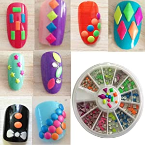 Amazon new8beauty nail art kit 3d rhinestones colorful and 3d colorful rhinestones nail art studs 1 pack prinsesfo Image collections