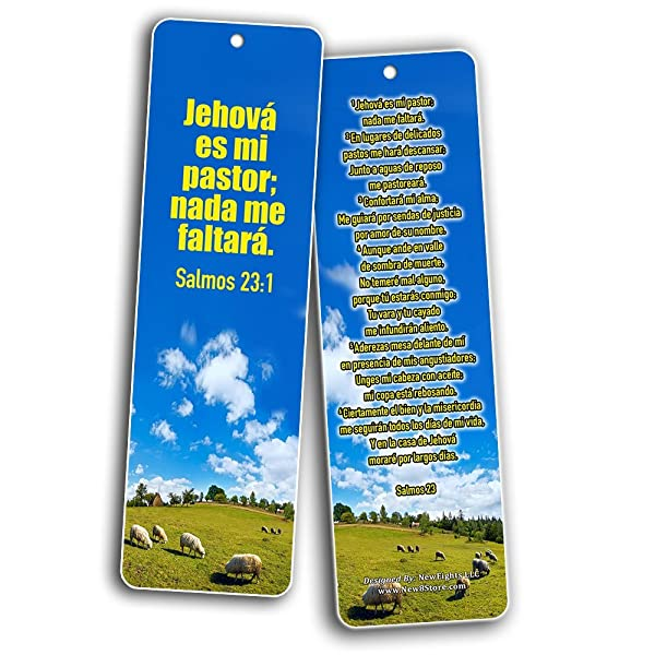 Amazon Com Spanish Bookmarks Salmo 23 60 Pack Psalm 23 The Lord Is My Shepherd Espanol Prayer Cards Religious Christian Gift To Encourage Men Women Teens Children War Room Decor Stocking Stuffers Office Products