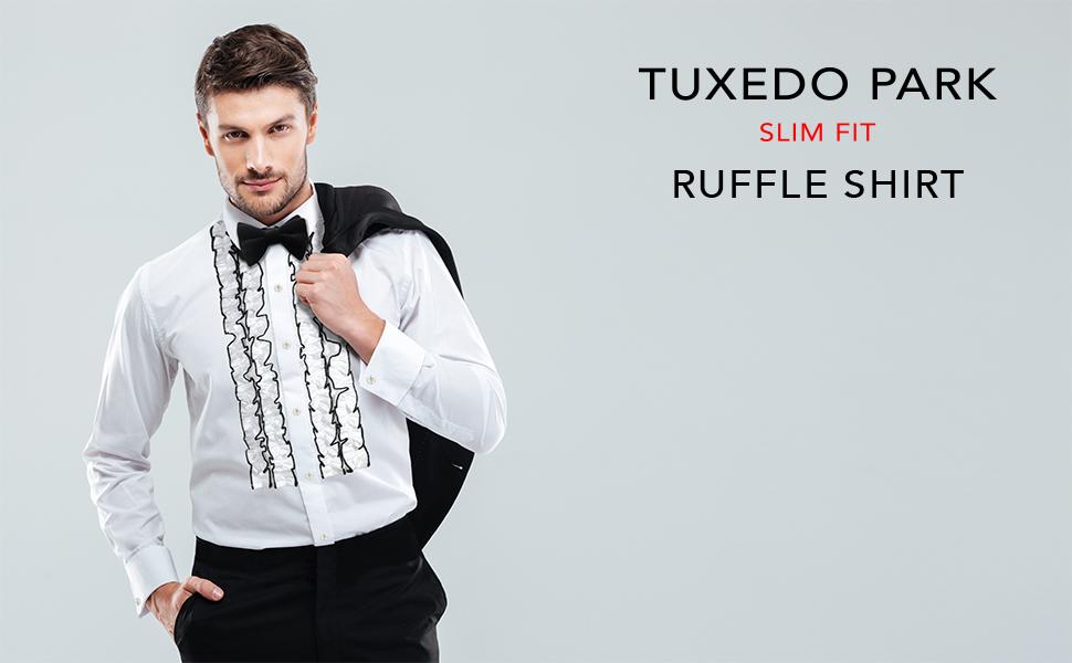 COOFANDY Mens Tuxedo Shirt Slim Fit Ruffle Ruche Frill Dress Shirt Wedding Party Prom Dinner Formal Button Down Shirt