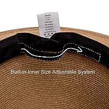Adjustable inner drawstring built in system hook and loop Velcro secure size fit snug