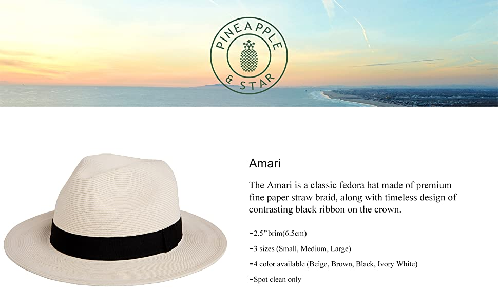 Pineappleamp;Star Amari Sun Straw Fedora hats Packable adjustable fit great for womens mens headwear
