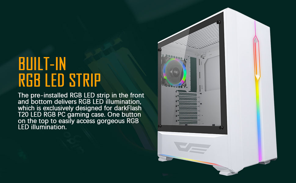 darkFlash T20 White ATX Mid-Tower Tempered Glass PC Computer Case W// LED Strip