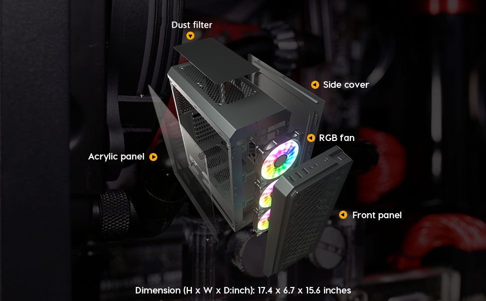 ATX Mid-Tower Computer Gaming PC Case darkFlash Water Square 5 with LED Fans