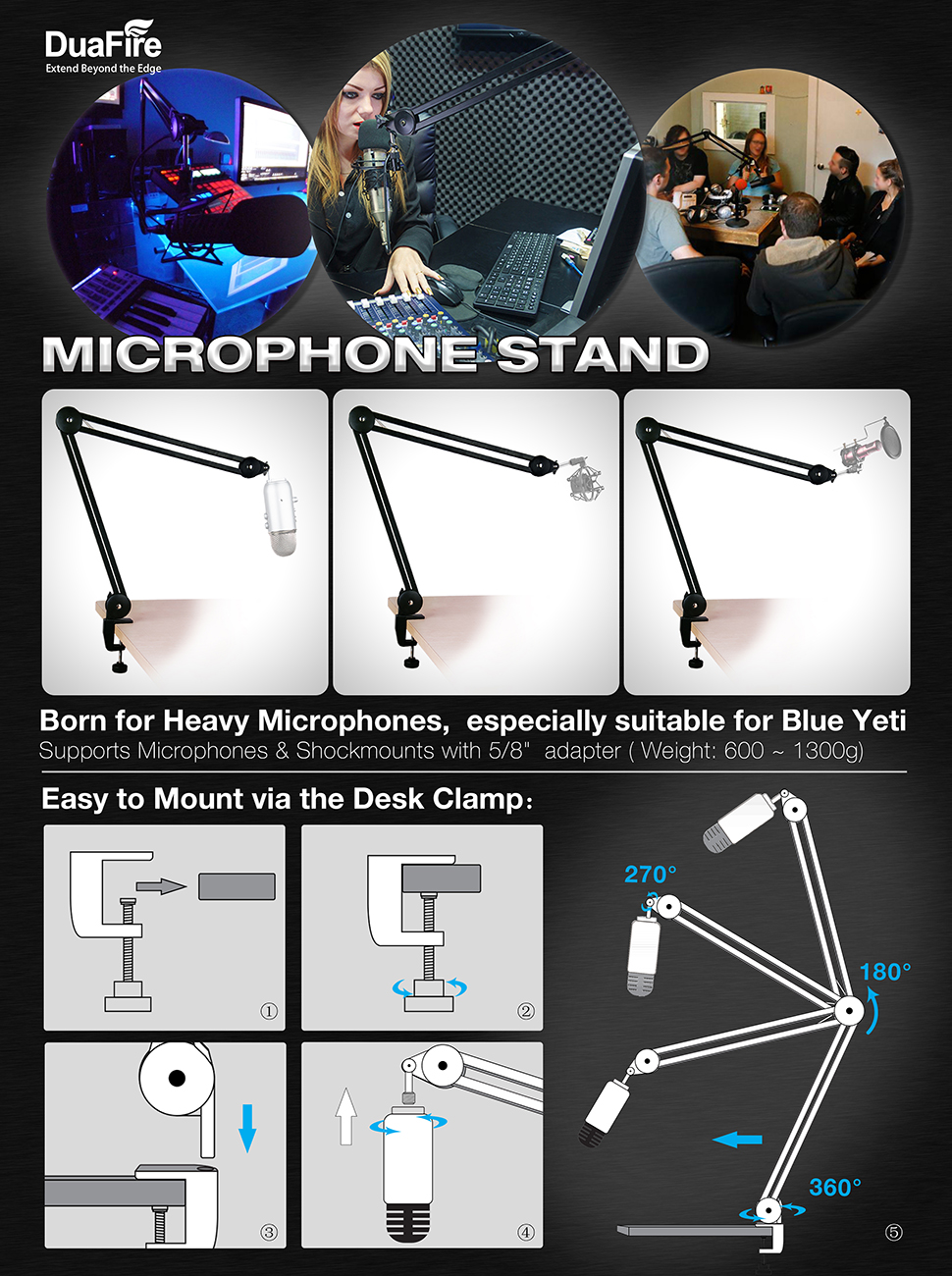 Amazon com: DuaFire Microphone Stand, Swivel Mount Studio