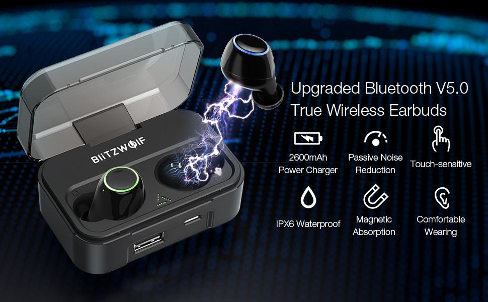 b94a8a9b906 BlitzWolf BW-FYE3 super capacity 2600mAh bluetooth 5.0 true wireless earbuds  with touch control