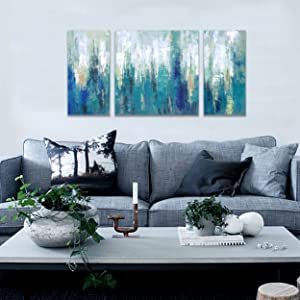 modern teal abstract wall art prints on canvas 3 pieces contemporary blue artwork for walls