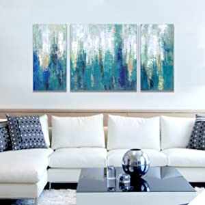 3Hdeko - Blue Abstract Canvas Wall Art Teal Abstract Painting Modern 3  Pieces Turquoise Prints Artwork for Living Room Bedroom Bathroom Home ...