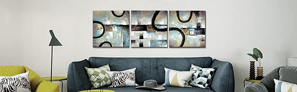 3Hdeko - Gray Abstract Canvas Wall Art for Living Room Bedroom Bathroom  Office Decor, Hand Painted Grey Oil Painting, Ready to Hang (20x20inchx3pcs)