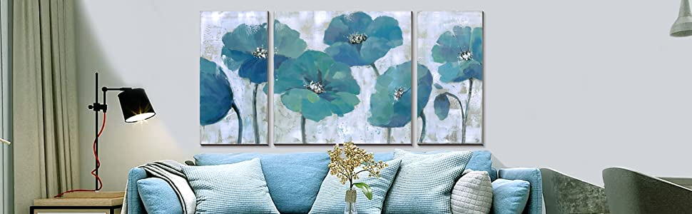 3Hdeko - Teal Flower Wall Art Aqua Blue Floral Painting Prints on Canvas,  Large 3 Piece Poppy Pictures Modern Home Decoration for Living Room  Bedroom, ...