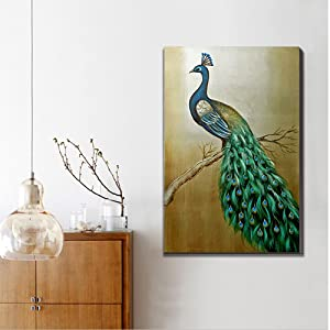 3hdeko Teal Peacock Oil Painting Blue And Green Peacock Wall Art For Living Room Bedroom Office Decoration 100 Hand Painted On Mosaic Gold Foil