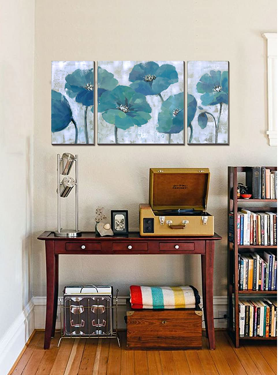 modern artwork for living room. cubism floral paintings on canvas 3 Panels Modern Prints Artwork Blue  Abstract Wall Decor Stretched Ready to hang Amazon com