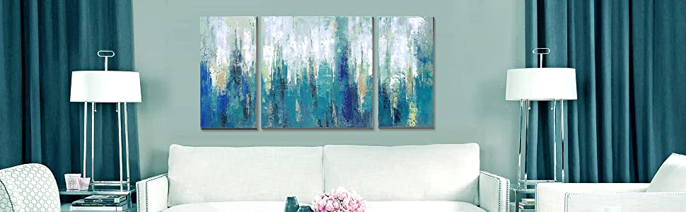 modern turquoise abstract wall art prints on canvas 3 pieces contemporary blue artwork for walls