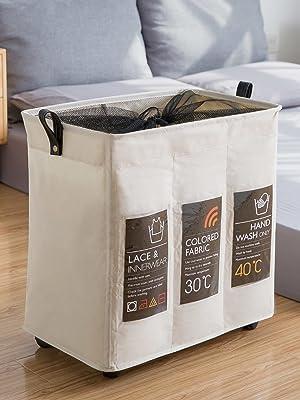 Caroeas 3 section rolling laundry basket
