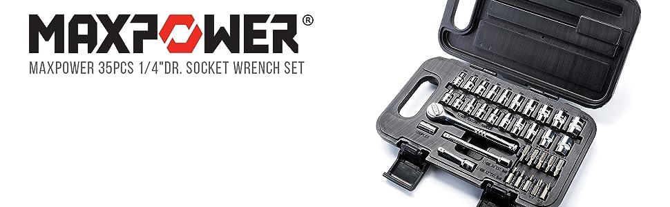 "MAXPOWER 35pcs 1/4""Dr. Socket Wrench Set"