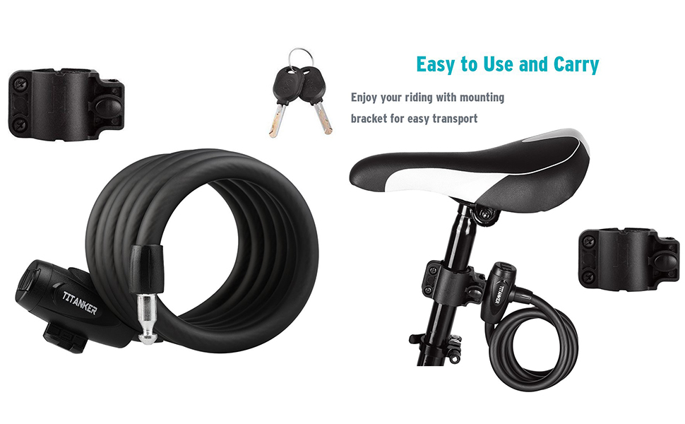 bike cable lock with keys