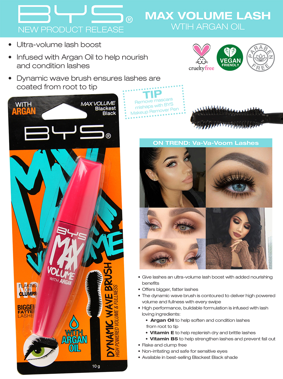 Mascara Max Volume Lash With Argan Oil Blackest Black - lashes volume boost nourishing dynamic