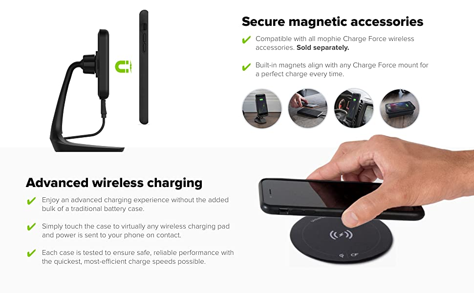 mophie charge force case made for apple iphone 8 plus and 7 plus works with qi. Black Bedroom Furniture Sets. Home Design Ideas