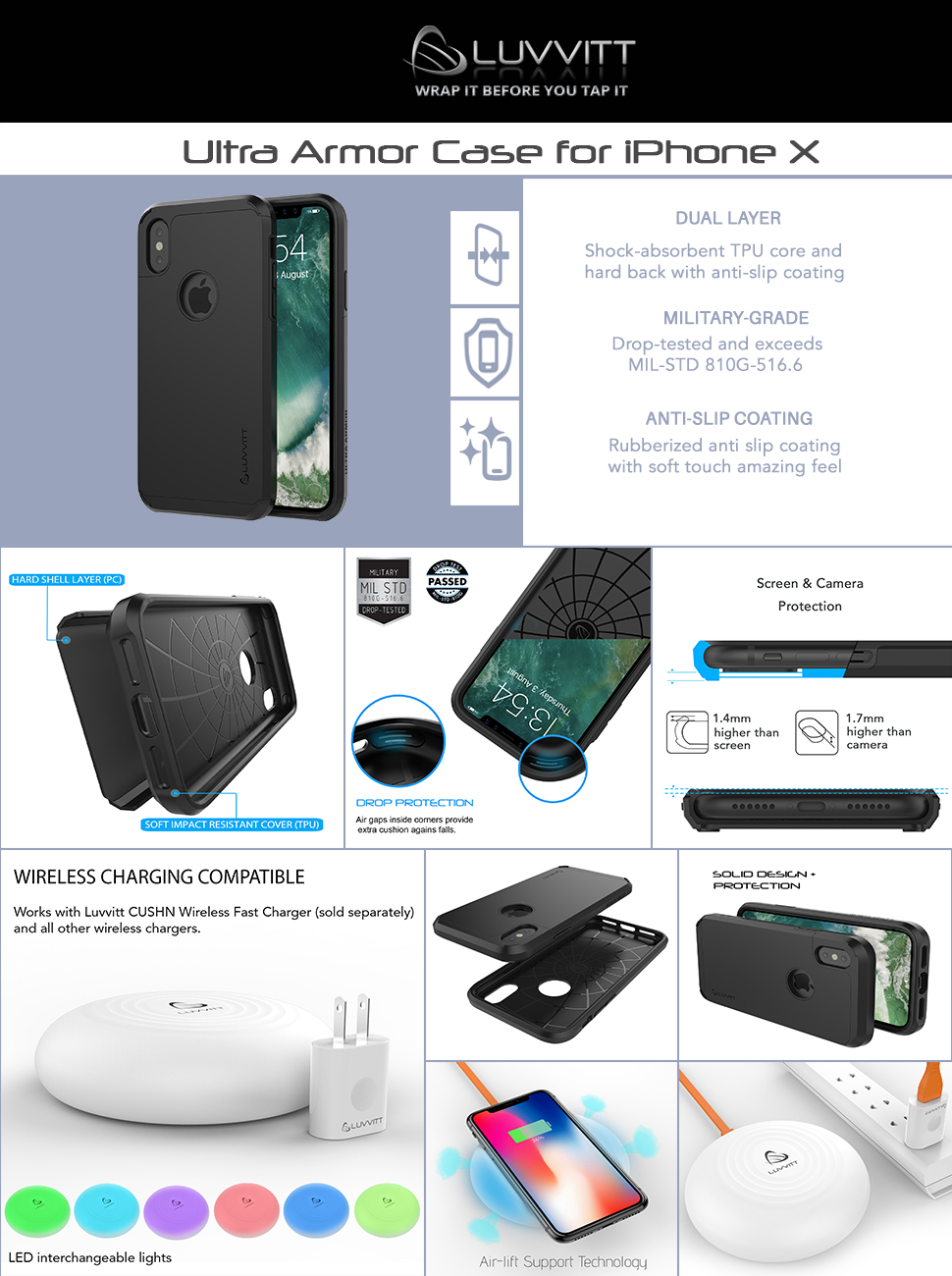 iPhone Xs Case, Luvvitt Ultra Armor Cover with Dual Layer