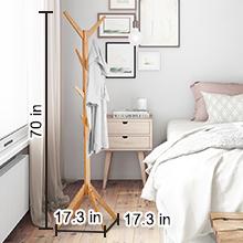Amazon.com: LANGRIA - Perchero de pie de bambú en forma de ...