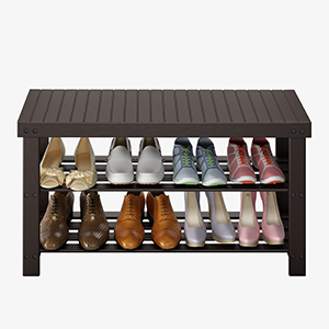 Bamboo wood shoe bench shoes rack